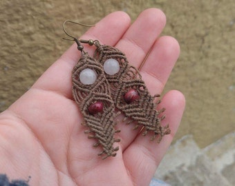 Macrame Hemp Earrings, Tribal Jewelry, Macrame Jewelry, Statement Jewelry, Hemp Jewelry,