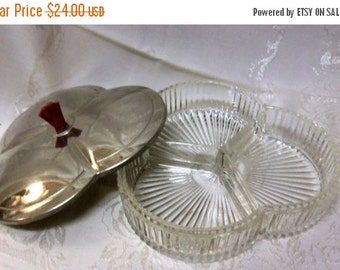SALE Vintage Sectioned Cut Glass Dish