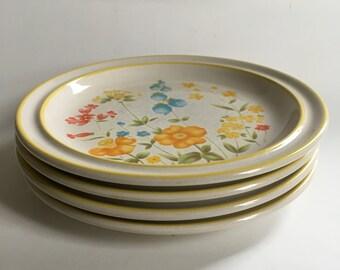 Vintage Mastercraft Brockton stoneware salad plates SY-6025, Japanese dinnerware, set of four