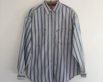 Vintage 90's Levi's Striped Shirt / Engineer Stripe Button Up M L
