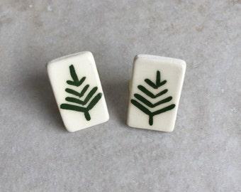 Vintage Pine Tree Stud Earrings