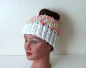 Cotton Candy Messy Bun Hat, Chunky Bun Hat, Ready-to-Ship