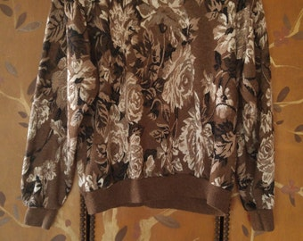 80s brown rose print sweater