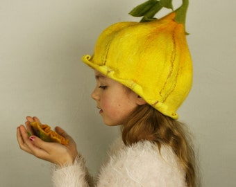 Yellow bell flower felted hat with steem, leaves and bud - Fairytale hat - Flower hat - Unique felted hat - Flower Costume - Fancy party hat