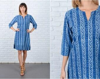 Vintage 70s Blue Hippie Dress Striped Print Ethnic India Boho Medium M 8847