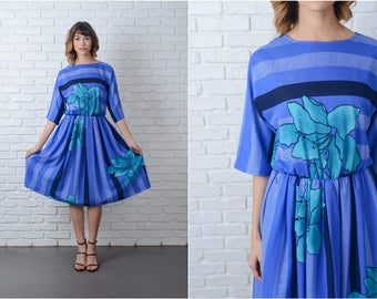 Vintage 80s Blue Retro Dress Teal Floral Print Bold Striped Medium M 3/4 Slv M 9176