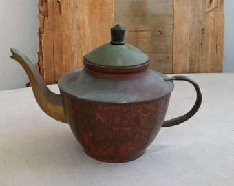 Antique Copper Teapot, Mid century Asian Metal Tea Kettle Plnater, Vintage Farmhouse Kitchen Decoration, Retro Cafe Restaurant Display Decor
