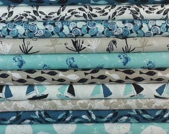 Blue and Tan Sea Animals & Boats SUPER BUNDLE from Andover Fabric's Tide Collection - 13 Fabrics