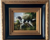 Sale Antique Vintage Oil Painting Portrait of English Setter Dog O/C Framed Art Home Decor