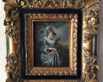 Sale Antique Vintage Oil Painting Portrait of Italian Rococo Period Woman O/Panel Art Framed Home Decor