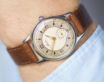 Retro men's wrist watch KAMA, Soviet classic watch limited edition, geometric pattern face watch mechanical rare, premium leather strap new