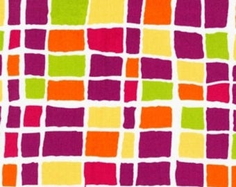 SHOP CLOSING SALE Robert Kaufman fabric for quilt or craft Felicity by Bren Talavera Retro Squares in Sorbet half yard