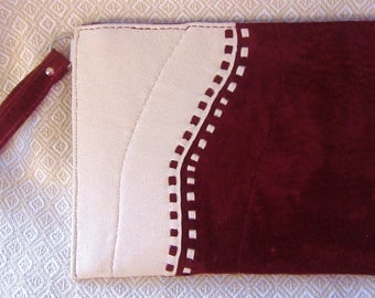 Burgundy & Ecru Zipped Suede Wristlet Bag