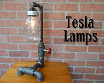 FAUCET HANDLE DIMMER! Black iron pipe lamp, mason jar shade, cloth cord, includes 2 bulbs!