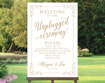 Unplugged Ceremony Sign | Various Sizes | Modern Mixed Fonts | Color Choice | Art Deco Border | Add Your Names | I Create and You Print
