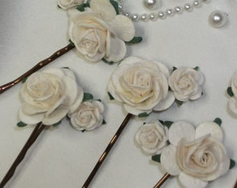6 ivory double rose clips, wedding bridal hair clips,  flowergirl, bridesmaid, bobby pins, flower grips, boho hair