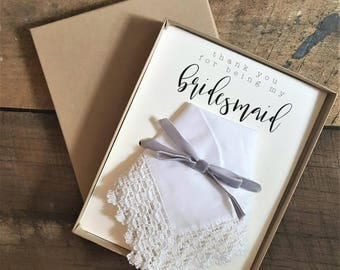 Thank you for being my bridesmaid lace edge Wedding Handkerchief. Bridesmaid. Maid of Honor. Matron of Honor. Wedding Hanky.