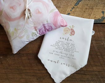 Wedding Handkerchief for the FLOWER GIRL with Rose accent. Wedding Handkerchief. Printed Handkerchief