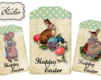 Easter Bunny Tags, Digital Easter Tags, Digital Collage, Craft & Scrapbooking supplies, Easter Basket Tag, DIY Easter, Easter Bunny