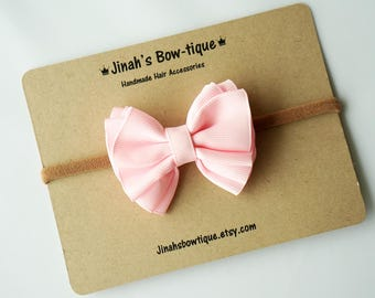 Gathered Hair Bow -Pearl Pink- Hair Clip or Nylon Headband