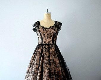 Vintage black lace dress . 1950s party dress
