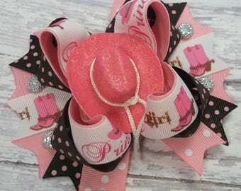 Pink And Brown Country Western  Hair Bow,  Boutique Western Hair Bows,  Cowgirl Hair Bow, Cowgirl Hat Hair Clip, Country Hair Bow