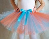 White, Orange, and Turquoise Tutu, Birthday Party, Halloween Costume, Smash Cake Photo Shoot, Baby Shower Sports Gift, Multicolor Tutu