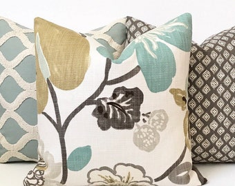 Green, aqua brown and gray floral decorative pillow cover