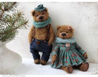 Teddy bear Kleo&Lion couple bears 17,5 cm OOAK