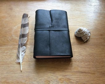 Black Thick Leather Joournal,Handmade Art Journal for Travel,Leather Sketchbook,Unique Gift,One of a Kind