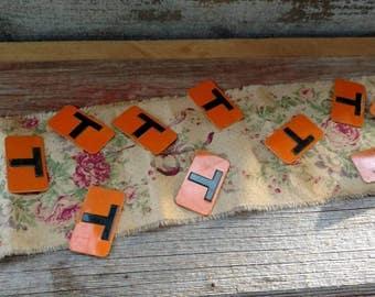 Antique Metal Mini Sign Letter Set of The Letter T - 12 Retro Orange and Black Metal T's, Craft Supplies, Retro Metal Letters, Halloween Art