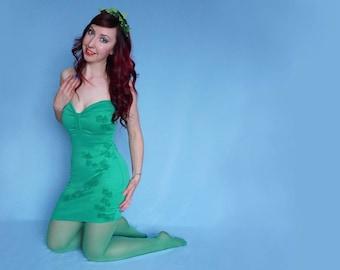 Poison Ivy Bodycon Strapless Dress Green Forest Fairy Pin Up Fancy Dress Costume Asymmetric Hem