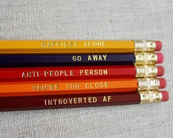 Introvert Pencil Set, Introvert's Pencil Set, Go Away, Happiest Alone, Introverted, Anti-People Person, Pencils, Stamped Pencils, Hot Foil