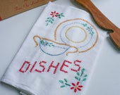 "Flour Sack Kitchen Towel, ""Dishes"" Design, Hand Embroidery & Cross Stitch Design"