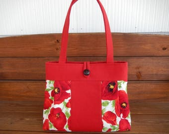 Handbag Purse Fabric Handbag Fashion Accessories Women Handbag Large Shoulder Bag in Red with Poppy print by creationsbyellyn