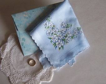 Wedding Hanky Bride's Vintage Handkerchief Something Blue with Complimentary Gift Envelope Bridal Shower Gift
