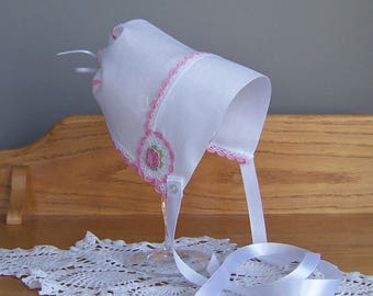 Pink and White Baby Bonnet or Sun Hat with Hand Made Lace, Vintage Hanky Christening or Baptism Cap, Newborn Baby Girl Shower Gift