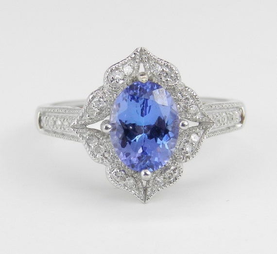 White Gold Diamond and Tanzanite Halo Engagement Promise Ring Size 7 December Birthstone