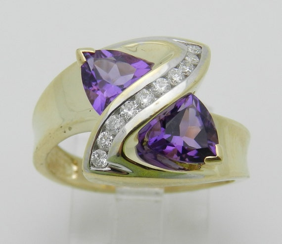 Diamond Trillion Amethyst Cocktail Bypass Ring Yellow Gold Size 7 February Gem