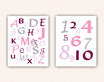 Alphabet and Numbers Print Set - Pink and Magenta ABC's and 123's for Kid's Bedroom - Custom Nursery Art (5004)