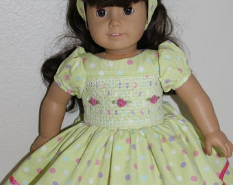 Smocked bodice dress and headband for 18 inch doll