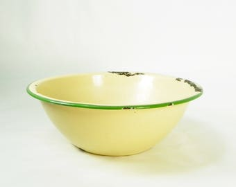 Yellow Enamelware Bowl with Green Trim, Vintage Farmhouse Kitchen