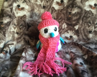 Crochet Outfit/Clothes for Hatchimals Pink color Beanie & Scarf Pink