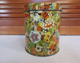 Vintage Decorative Floral Tin Canister with Lid