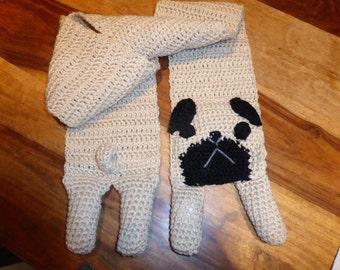 Pug  dog crochet scarf
