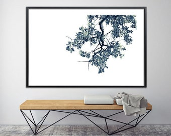 Modern oak tree print black and white minimalist poster Giclee Print up to 40X60, botanical wall decor, zen tree art by Duealberi