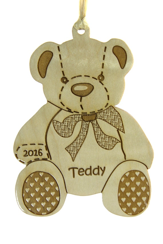 Christmas tree ornament wooden teddy bear solid