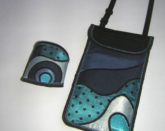 Gifts! Set bracelet and iPhone 6 Plus case  Purse & Cuff crossbody cellphone cover Mini Sling Bag Handmade mix turquoise blue