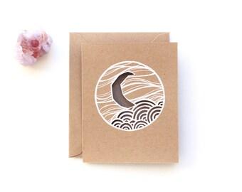 crescent moon greeting card | HANDMADE