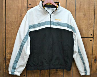 Vintage 90s REEBOK Colorblock White Gray Black Windbreaker Track Jacket